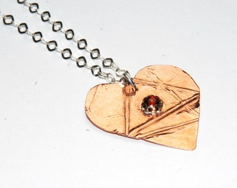 Heart Necklace - Red Garnet - Copper Heart Pendant - Mixed Metal Necklace - Fold Formed Jewelry - Mothers Day