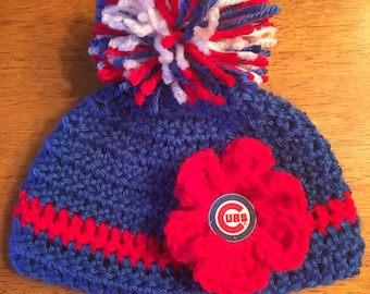 Crocheted Baby Chicago Cubs Hat
