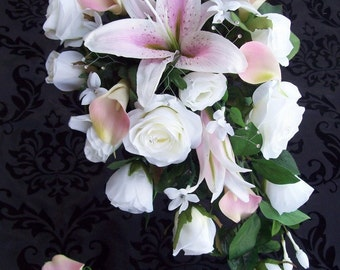Light Pink and Ivory Cascade Bridal Bouquet Light Pink Calla lily Boutonniere Lilies Roses and Real Touch Callas 2 Piece Made To Order