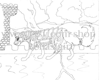 Hand Drawn Wolf, coloring page, Wolf coloring page, Tower,