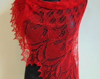 Triangular red lace shawl, red hand knitted lace shawl,Shawl with Haapsalu nupps, wedding shawl, red, Valentine day gift, READY to SHIP