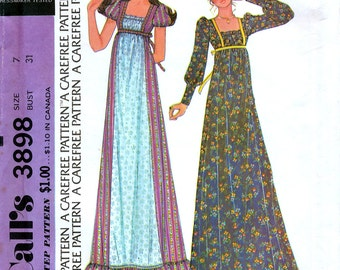 McCall's 3898 Vintage 70s Sewing Pattern for Misses' and Junior Empire Maxi Dress - Uncut - Size 7 - Bust 31