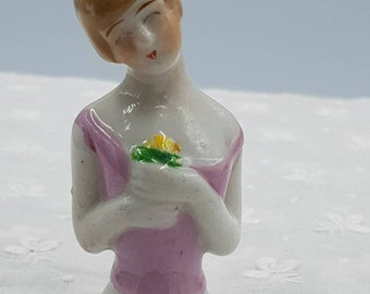 Art Deco Flapper Pin Cushion Doll. 7cm Half Pin Doll.  Lady with Bobbed Hair Marked Foreign