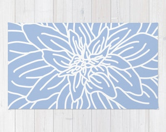 Blue Abstract Flower Area Rug - Modern Flower Rug - Blue and White - Nursery Area Rug - Contemporary Home Decor