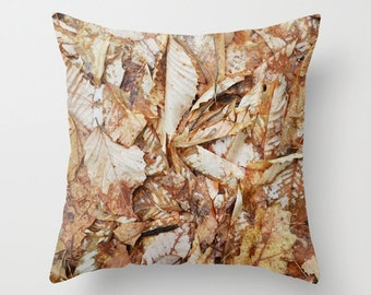 Photo Pillow Cover Decorative Leaves Pillow Brown Rustic Pillow Pillow