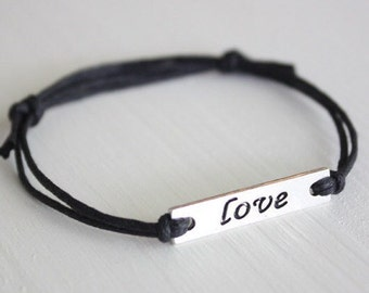 LOVE Bracelet or Anklet in Silver, Love Word Bracelet, Love Jewelry, BFF Gift, Best Friend Gift, Friendship Gift, Valentines Day Gift