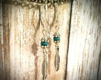 Feather Earrings / Boho Earrings / Turquoise Earrings / Charm Earrings / Silver Earrings / Bead Earrings