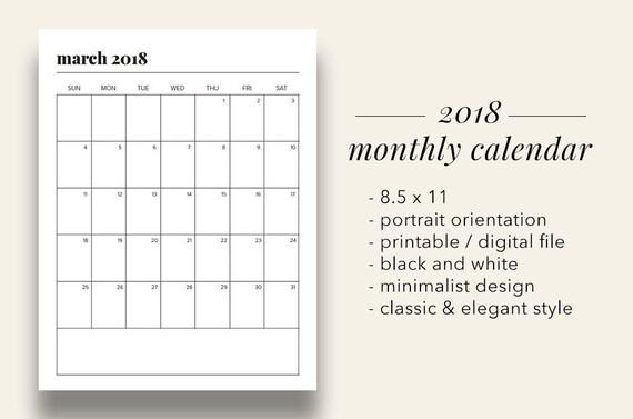 free printable annual calendar 2018