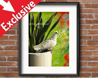 White Doves - White dove print, great for dining room decor