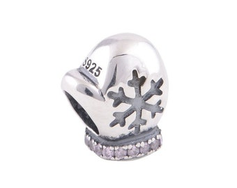 2 Winter Mittens 925 Sterling Silver Charms Beads Fits European Style Bracelet - 7W