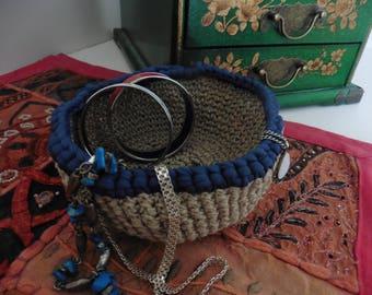 Empty Pocket/beige color with edging blue crochet storage basket