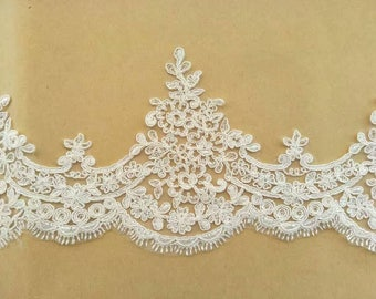 Ivory Alencon Lace Trim Floral Embroidered Retro Lace Bridal Lace 5.9 Inches Wide 1 Yard
