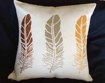 handmade pillow- gold bronze silver leaves