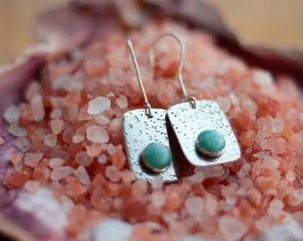Sterling Silver and Amazonite Earrings - Textured Silver and Aqua Stone - Trendy Boho Square Earrings - Cute Gift for Her - Artisan Silver