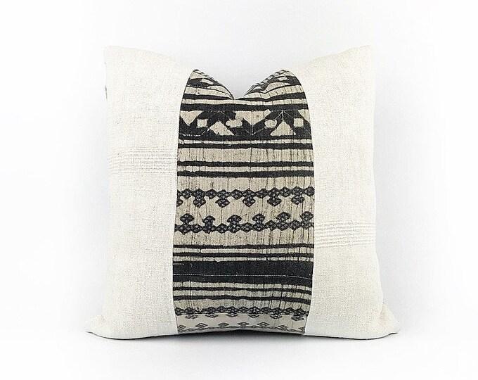 Antique French Linen And Vintage Hemp Hmong Batik Textile Pillow Cover 18x18