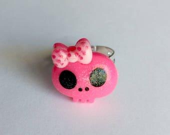 Pink Skull Adjustable Ring - Kawaii Jewelry Decora Jewelry Pop Kei Jewelry Oshare Kei Jewelry Harajuku Fashion Decora Ring Kawaii Ring
