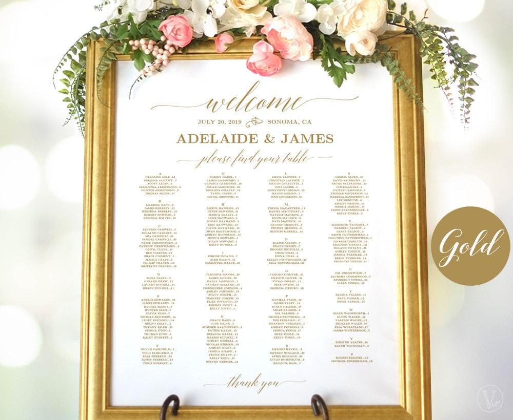 gold wedding seating chart sign template printable wedding