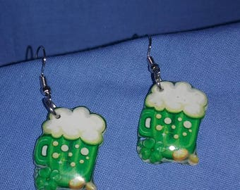 St. Patrick's Day beer mug earrings