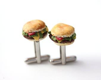 Burger Cufflinks - Sandwich Cuff Links- miniature food Jewelry