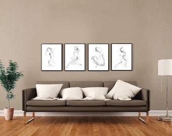 32-08R-06L-35L, pencil drawing nude sketch nudeart minimalist female figure abstract art prints from original art by Ann Adams Set of 4 CC