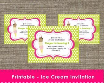 Ice Cream Party Invitation - DIY - Printable