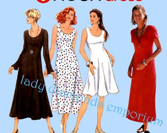 Simplicity 9103 Womens Pullover Fitted & Flared Dress size 10 12 14 16 Bust 32 34 36 38 Mini Midi Maxi One Hour Sewing Pattern