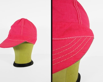 Vintage Neon Welders Cap 1960s NOS Pink Cloth Hat Deadstock Made in USA - Size 6 7/8