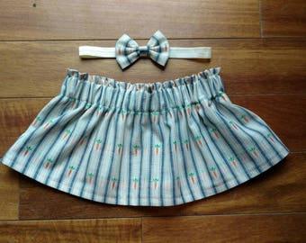 Toddler skirt & bow - baby girl skirt - carrot skirt - Easter skirt - spring - summer - striped skirt - bunny - handmade little girl clothes