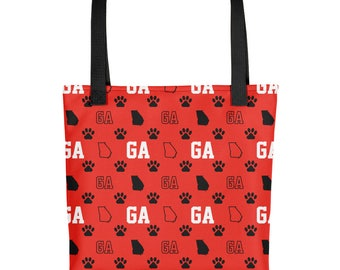 Georgia Tote Bag - Bulldogs Bag, Paw Print,  Red Tote Bag