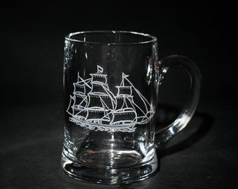 Nautical Glassware, One Nautical Glass, Vintage Sailboat Nautical Theme Glass, Vintage Style Barware, Engraved Ship Beer Gl...