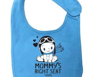 Blue Baby 'Mommy's Right Seat' Bib by runway THREE-SIX