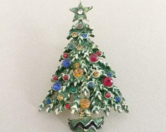 Christmas Tree Brooch, Rhinestone Jewelry, Holiday Jewelry, Rhinestone Christmas Tree Pin, Colorful Enamel Holiday Brooch, Christmas Jewelry