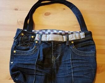 Recycled handmade denim bag,jeans bag, dark blue denim bag. Shoulder or handbag.