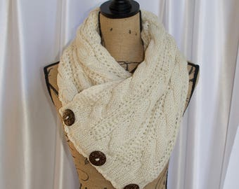 Buttoned Up Scarf Chunky Women Scarf Boston Harbor Scarf Ivory Beige Knitted Buttoned Up Scarf Women Scarf Christmas Gift under 50