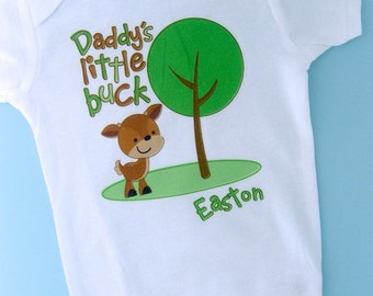 Boy's Daddy's Little Buck Shirt, Personalized Woodland Shirt or Onesie with Little Deer Shirt (09092011a)