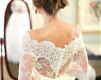 Wedding Off-Shoulder lace bolero/ wedding cover up/ivory jacket/wrap/ lace shrug/bridal lace top custom color