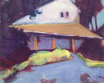 Light at the Edge - 6x6 inches unframed original acrylic painting of a charming house by Maryland artist Barb Mowery