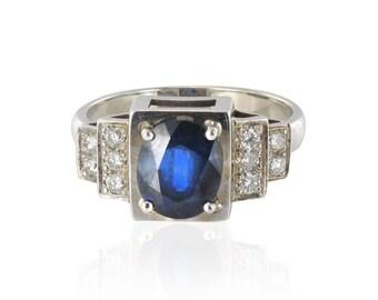 Art deco Art deco 18K White Gold Sapphire diamond ring