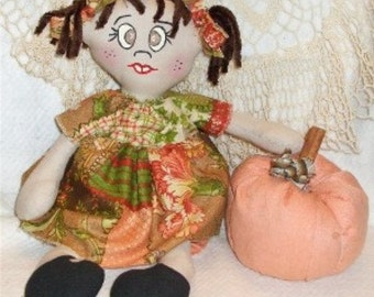 Country Primitive Fall Cloth Doll Pumpkin ePattern Instant Download