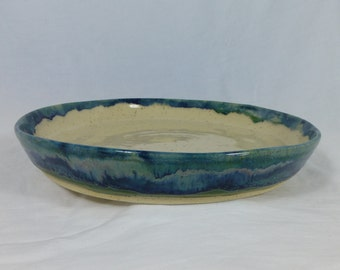 HANDMADE SERVING PLATTER, pottery dish, handmade dish,  blue dish, ceramic dish, serving platter, stoneware plate, serving plate