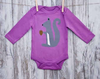 Squirrel on Purple Organic Baby Bodysuit, 100% Fairly-Traded, Long Sleeve Cotton Onesie, Screen Printed, Baby Gift, Woodlands Collection