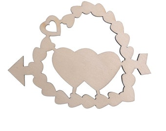 10pcs Double Hearts Wooden Embellishments Crafts Christmas Tree Ornaments with String (CTZZ22-R05-ARROW)