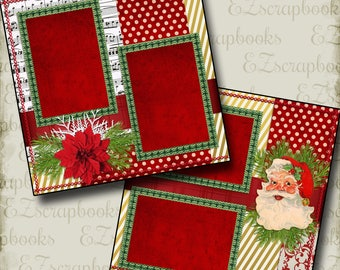 SANTA - Christmas - 2 Premade Scrapbook Pages - EZ Layout 638