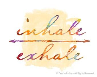 "Yoga ""Inhale- Exhale""- SUN COLORS- Small, Yoga Wall Art, Yoga Artwork, Yoga Print, Yoga Studio, Breathe, Giclée Print, Contemporary Yoga Art"