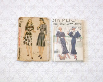 Vintage 20's/40's Fitted Day Town Dress Pattern Lot 2pc sz6-16