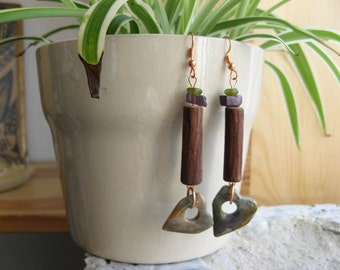 Moss and Heather Woodland Elf Earrings, Fancy Jasper, Salvaged Wood, Purple, Green, and Brown