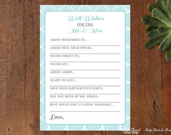Well Wishes for the Mr. and Mrs Wedding Game - Mint and Grey Printable Bridal Shower Game - Marriage Wishes Printable Card - Cottage Chic