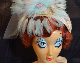 1920s Flapper Gatsby Pastel Pink & Blue Feather Lace Tulle Fascinator Headpiece