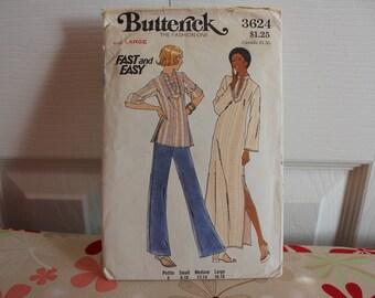 Vintage-Muster, Butt 3624, Vintage Butt, ungeschnitten Muster, verfehlt Muster, Kaftan Muster, große Muster, 1970er Muster, Damen tragen
