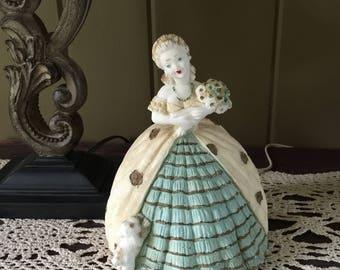 Vintage Lady and Dog Boudoir Lamp, Vintage Victorian Lady Lamp, Victorian Lady Lamp, Boudoir Lamp